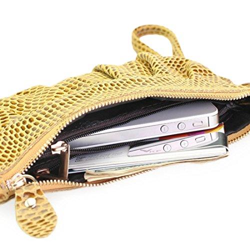 Missy K Monedero de piel correa de muñeca, piel de serpiente, + kilofly pinza para billetes amarillo