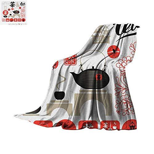 Tea Party Custom Design Cozy Flannel Blanket Japanese Design with Cultural Elements Flowers Fuji Mountain Tea Pot Digital Printing Blanket 50