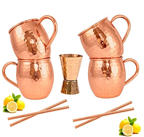 Moscow Mule Copper Mugs - Set of 4-100% HANDCRAFTED - Food Safe Pure Solid Copper Mugs - 16 oz Gift Set with BONUS: Highest Quality Cocktail Copper Straws and Jigger! (Curve) by CopperWood