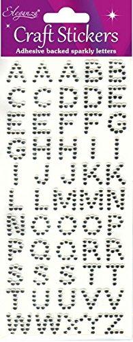Oaktree Crafts eleganza alphabet stickers, trasparente/argento numero 43 Alfabeto Silver