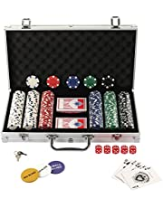 Display4top 300 Piece Texas Holdem Poker Chips Set with Aluminum Case ,2 Decks of Cards, Dealer, Small Blind, Big Blind Buttons and 5 Dice