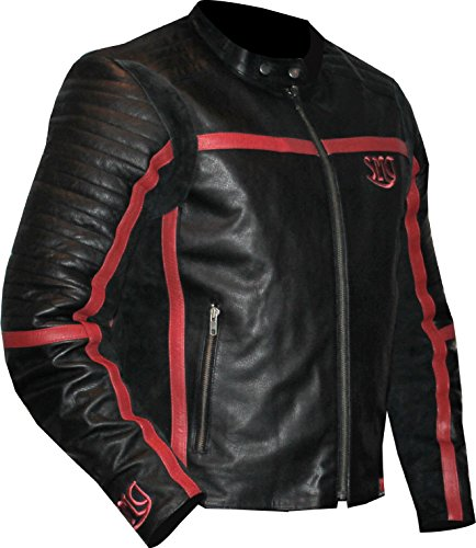 Skott Motorcycle Leather Jacket With Full CE Approved Upper Body Protection Kit (Black/Red, Large) (Blade Jacket Motorcycle)
