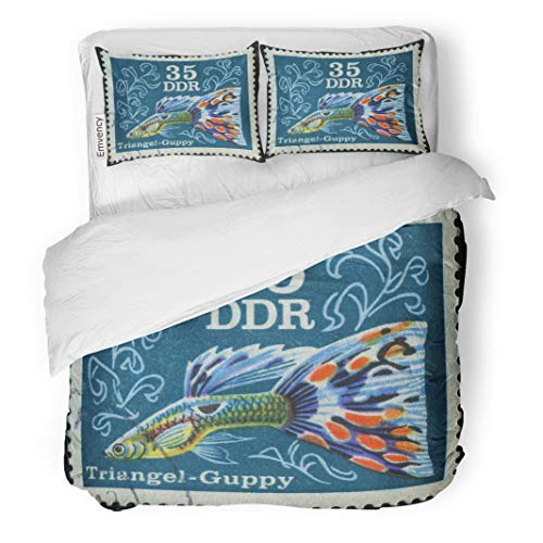 (Emvency Bedding Duvet Cover Set Germany Circa 1976 Stamp Printed by Shows Guppy is One of The Most Popular Freshwater Aquarium Fish 3 Piece Set with 2 Pillow Shams Twin 68