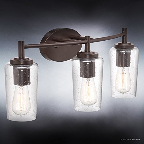 Luxury Vintage Bathroom Vanity Light, Medium Size: 10''H x 23''W, with Antique Style Elements, Elegant Estate Bronze Finish and Seeded Glass, Includes Edison Bulbs, UQL2272 by Urban Ambiance by Urban Ambiance (Image #2)