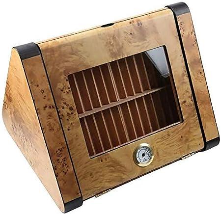 APcjerp Triángulo Oeste Madera cigarro Gabinete de Madera Caja de Cigarrillos Caja de cigarros Transparente portátil de Almacenamiento humidor del cigarro Cristal humidor: Amazon.es: Hogar
