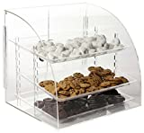 Countertop Bakery Display Case, Clear Acrylic, with Rear-Loading Doors and 3 Removable Trays, Frameless Clear Acrylic, Hinged Doors - 18 x 18 x 16-1/4-Inch