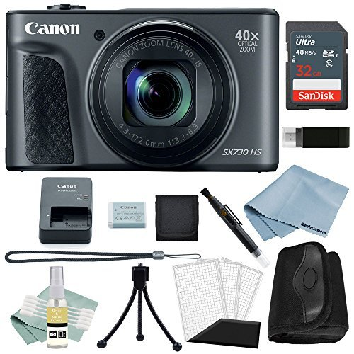 Powershot Basic Accessory - Canon Powershot SX730 HS Bundle (Black) + Basic Accessory Kit - Including to Get Started