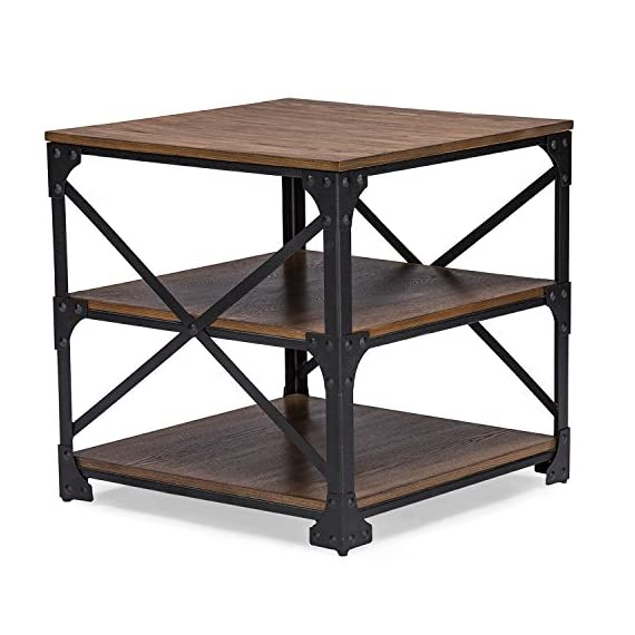 Wholesale Interiors Baxton Studio Greyson Vintage Industrial ccasional End Table, Antique Bronze - Vintage industrial design Antique bronze finishing solid iron metal frame MDF wood in distressed finishing - living-room-furniture, living-room, end-tables - 51ZDMSW0XEL. SS570  -