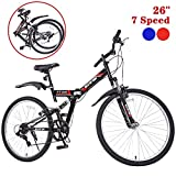 "GTM 26"" Folding Mountain Bike 7 Speed Bicycle Shimano Hybrid Suspension MTB"