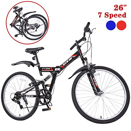Lowest Price! GTM 26 Folding Mountain Bike 7 Speed Bicycle Shimano Hybrid Suspension MTB