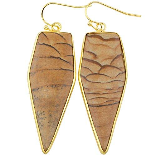rockcloud Crystal Stone Dangle Earrings Gold Plated,Sword Shape,Picture Jasper