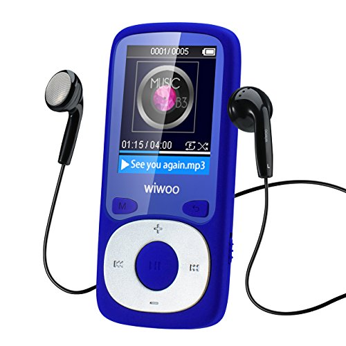 wiwoo 16GB Portable MP3 Player With Fm Radio, Lossless Music Player With Adjustable Armband For Running For Kids, Expandable Up to 64GB Micro SD card (Blue)
