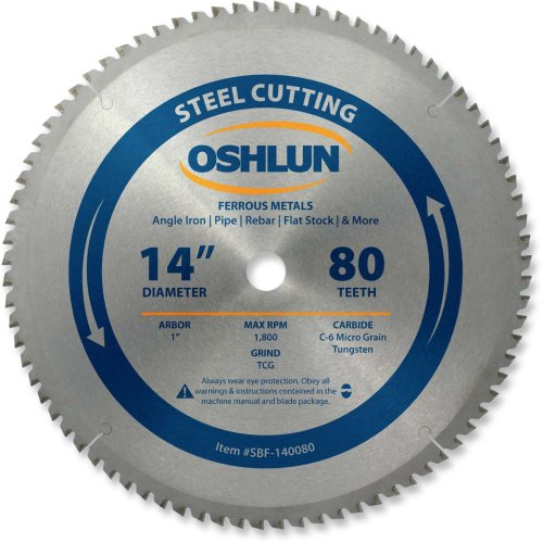 Oshlun SBF-140080 14-Inch 80 Tooth TCG Saw Blade with 1-Inch Arbor for Mild Steel and Ferrous Metals ()
