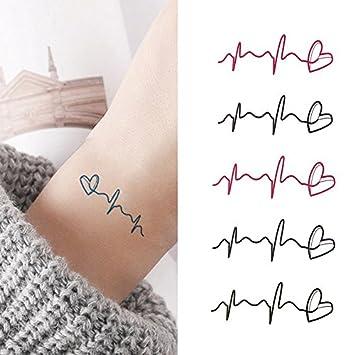 af60e1b811b12 Amazon.com : Oottati Small Cute Temporary Tattoo Rose Heart Heartbeat (2  Sheets) : Beauty