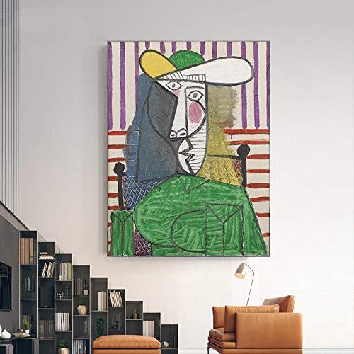 Picasso GeomeTrica De La Lona Sala De DecoracioN Marco De La Pintura Aceite Pintura Abstracto Pared Arte Figura Poster Colorido Impresiones Moderno Salon Inicio Cuadros 40x60cm No Famosos