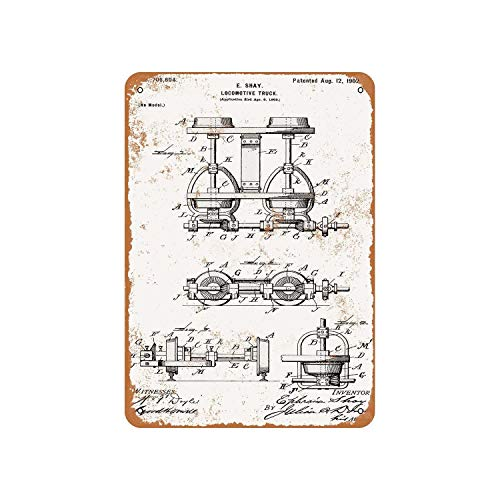 Fhdang Decor Vintage Pattern 1902 Shay Locomotive Truck Patent Vintage Look Metal Sign Aluminum Sign,6x9 Inches