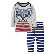 Big Elephant Baby Boys 2 Piece Graphic Long Sleeve Pants Clothing Set J96, 18 - 24 Months, Fox a