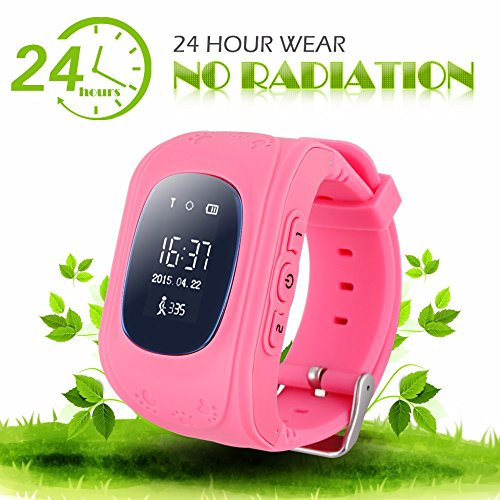 Children Gift Smart Watch GSM GPS Watch GPS Tracker for Kids 2 Way communication Tracker with APP for IOS Android, Real-time Tracking, Geo-fencing Kid Watch Tracking Device ( Pink Watch ) ()