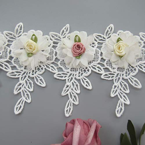 - 1 Yard 3D Chiffon Flower Lace Trim Ribbon Cotton Leaves Fringed Edge 10.2cm Width Vintage White Edging Trimmings Fabric Embroidered Applique Sewing Craft Wedding Bridal Dress Clothes Headband DIY