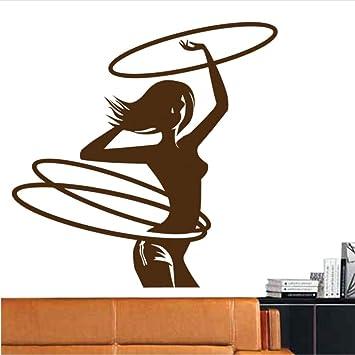 LoveMQ 57 * 57 cm Hula Hoop Gym Etiqueta engomada del nombre Girl Run Fitness Club Crossfit Calcomanía de vinilo de la construcción del cuerpo calcomanías Parede Decor etiqueta engomada del gimnasio: