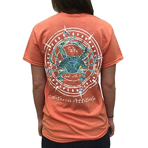 (Southern Attitude Salty Deal with It Crab Sunset Orange Short Sleeve T-Shirt (Small))