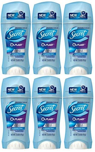 Secret Outlast Xtend Antiperspirant & Deodorant Invisible Solid, Completely Clean 2.6 Ounce (Pack of 6)