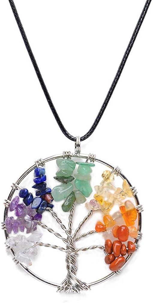 QiXuan Árbol de la Vida Colgante de Amatista Collar de Cristal, joyería de Piedras Preciosas Festival de Regalos de la joyería para Las Mujeres