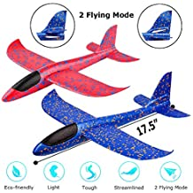 """2 Pack Airplane Toy, 17.5"""" Large Throwing Foam Plane, Dual Flight Mode, Aeroplane Gliders, Flying Aircraft, Gifts for Kids, 3 4 5 6 7 Year Old Boy,Outdoor Sport Game Toys, Birthday Party Favors"""