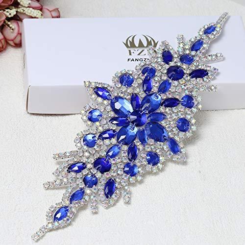 (Rhinestone Applique for Wedding Dress Belt Embellishment (Navy Blue))