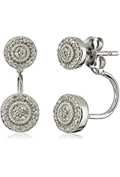 Sterling Silver with White Diamond Earrings (1/10cttw, I-J Color, I2-I3 Clarity)