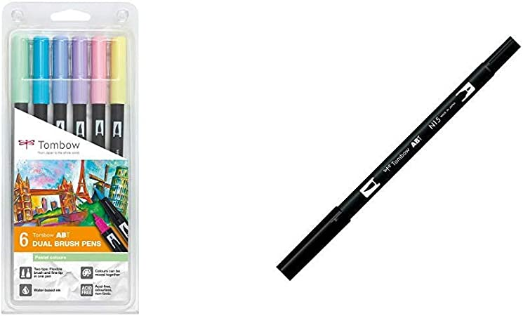 Set De 6 Rotuladores Dual Brush Colores Pastel Tombow + Tombow ABT ...
