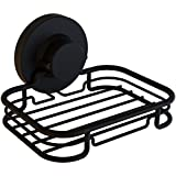 Gecko-Loc Rustproof Black Vacuum Suction Soap Dish Holder for Shower or Bath, Sponge Holder Sink Organizer - Easy Installation and No Drilling Stainless Steel