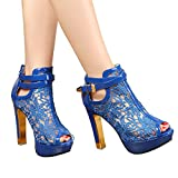 (US) Getmorebeauty Women's Pretty Lace Flowers Open Toes High Heels Ankle Boots (7 B(M) US, Blue)