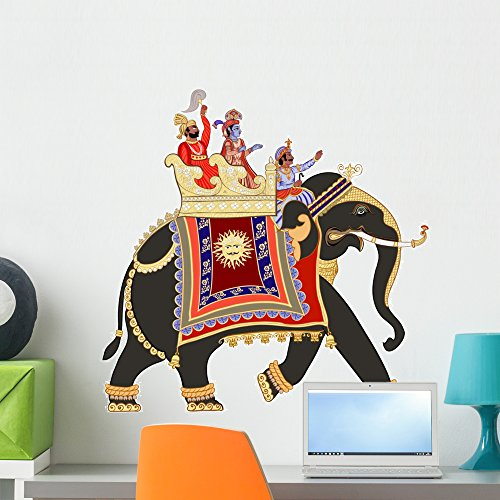 Decorated Indian Elephant Wall Decal by Wallmonkeys Peel and Stick Graphic (24 in W x 24 in H) WM211811