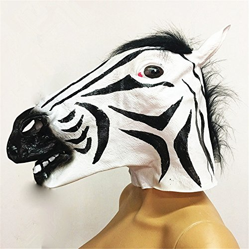 Gru Costume Nose (CHOP MALL Zebra Shape Head Mask Happy Halloween Dress-Up Costume Party Novelty Vinyl Mask for Halloween Party Decorations)