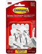 Command Kleine draadhaken, Value Pack van 9 haken en 12 Command Adhesive Strips, geschikt voor het ophangen van keukengerei tot 225 g
