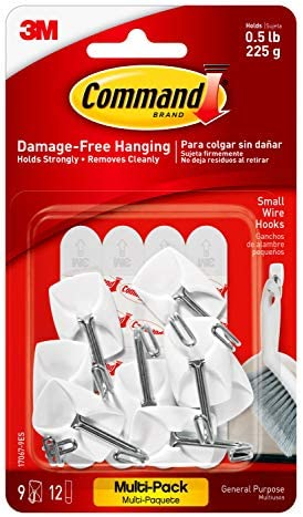 Command Small Wire Hooks Value Pack, White, 9-Hooks, 12-Strips, Organize Damage-Free