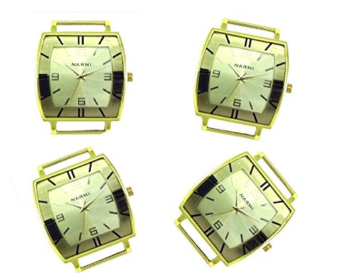 PlanetZia 2pcs Fancy Rectangle Ribbon Watch Faces for Your Interchangeable Beaded Bands TVT-4587 (All Gold)
