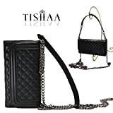 iPhone 7 case,TISHAA Luxury Crossbody Bag PU Leather Folding Cover Wallet with inside Mirror and Chain Strap for Apple iPhone 7 (2016) (Crossbody Bag Black)