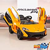 BIG TOYS DIRECT McLaren P1 Kids 12V Battery Operated Ride On Car with Remote Control, Leather Seat - Orange