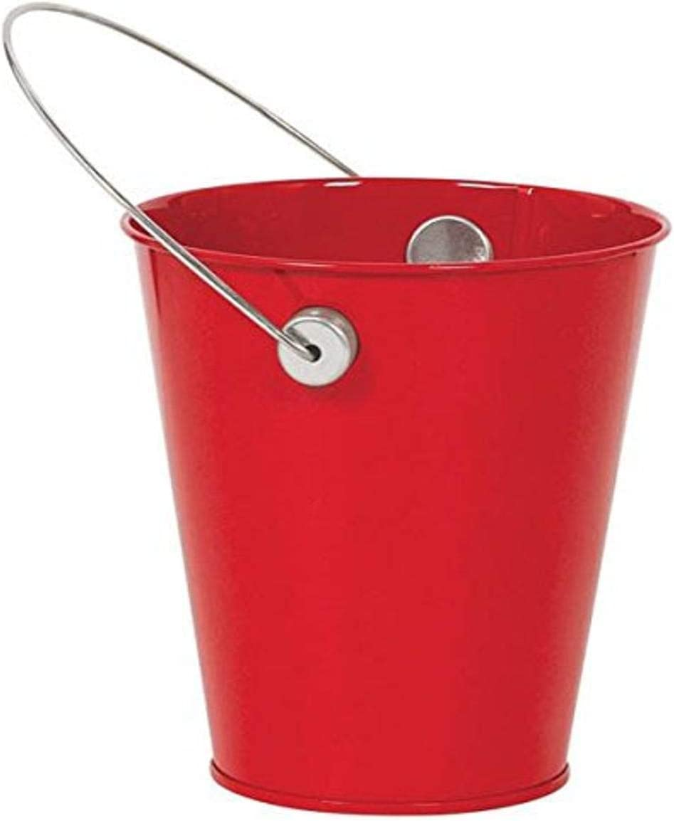 amscan Apple Red Decorative Metal Mini Bucket with Handle Children's Temporary tattoos, 4 1/2