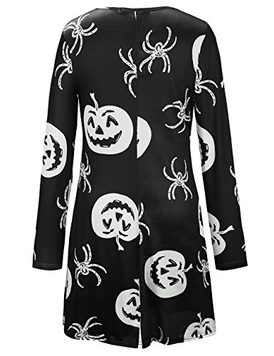 Halloween Costume Araigne Cocktail SIMYJOY Parade Noir Party pour Patineuse Manches Robe Swing and Robe Pumpkin Femme Longues 7wgH5w