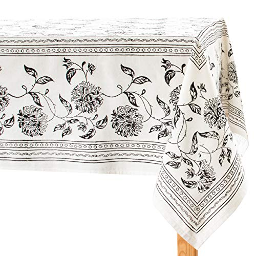 Black & Off White Table Cloths (100% Cotton, Floral Hand Block Print, 55X75 inch, Pack of 1) Properly Finished, No Fray Edges | for Home, Kitchen, Dining Room, Holiday, Wedding Party Décor