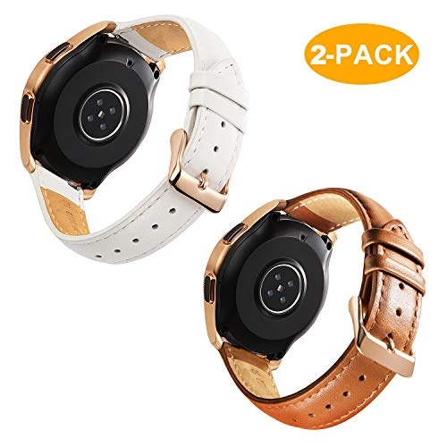 Rose Leather - for Galaxy Watch 42mm Bands Leather - 2 Pack Softer Genuine Leather Watch Straps with Rose Gold Buckle, White and Brown
