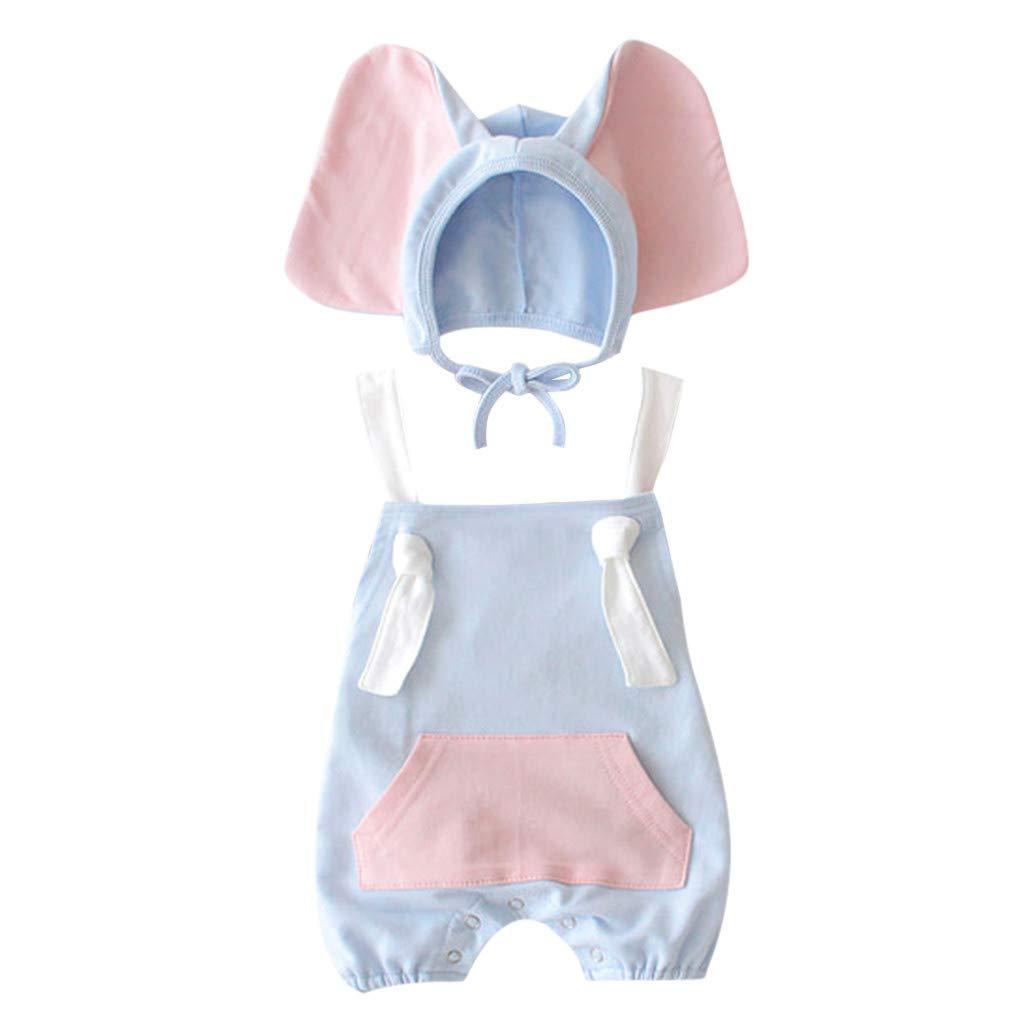 Cartoon Elephant Hat Costume Outfits Set FEITONG Baby Girl Boy Kid Sleeveless Romper