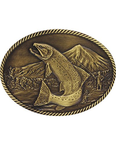 Trout Belt (Montana Silversmiths Men's Sculpted Wild Trout Heritage Belt Buckle Gold One)