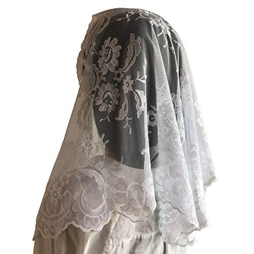 Spanish Mantilla Embroidery Lace Veils Catholic Church Mantillas Chapel Scarf Lace Mass (white), - Veil Scarf