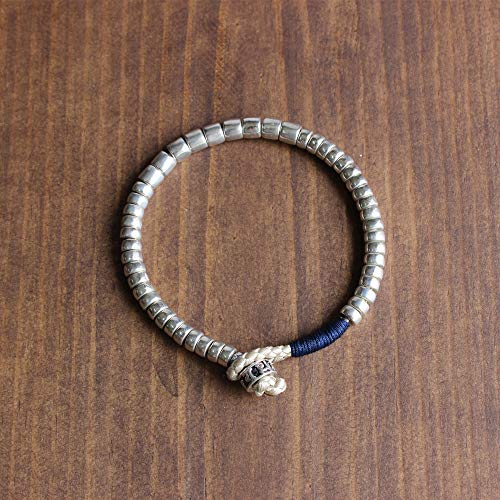 d57085ee94 TALE Tibetan Buddhist Handmade Dragon scale Lucky knots With White Copper  Beads OM Bracelet