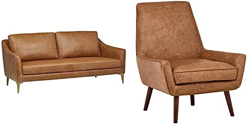 Amazon Brand Rivet Alonzo Contemporary Leather Sofa Couch