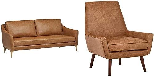 Amazon Brand Rivet Alonzo Contemporary Leather Sofa Couch